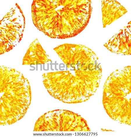 tropical fruits orange, kiwi, lemon, grapefruit watercolor seamless pattern #1306627795