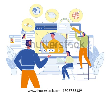 E-Learning. Virtual Education. Students at Laptop. Online University. Teacher Have Internet Lesson. Diploma, Goal and Success. Young People Career. Modern Occupation and Profession. Vector EPS 10. #1306763839
