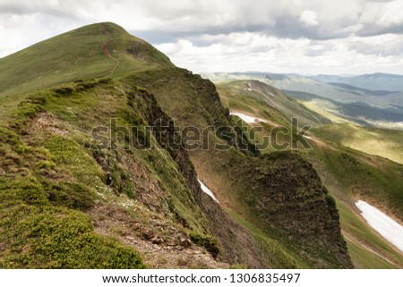 Perfect Carpathians. Europa. Mountains in summer. Green hill. Spring in the mountains #1306835497