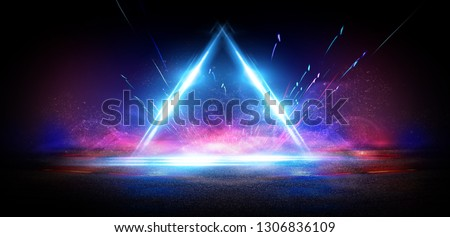 Background of empty street at night, neon light, asphalt, concrete, smoke, smog. Abstract light element in the center, light triangle.