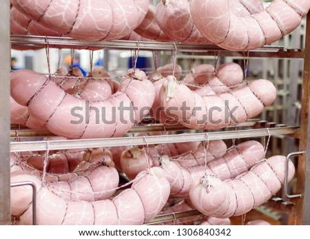 Making sausages, food production in the factory #1306840342