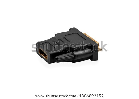 HDMI to DVI port converter isolated on white background #1306892152