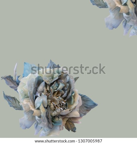 Greeting card of silk roses, beautiful blue gray roses on a background, floral vintage pattern, print, fabric. Collage flowers on a background. Toned Image does not focus. #1307005987