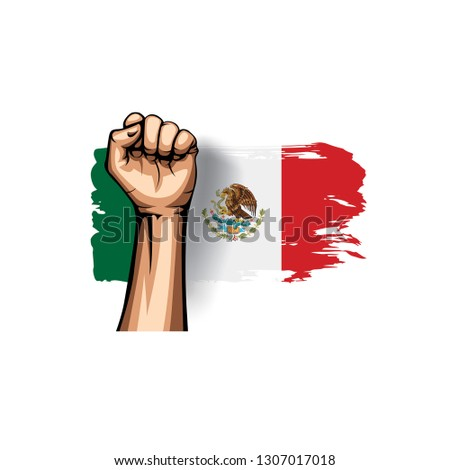 Mexican flag and hand on white background. Vector illustration #1307017018