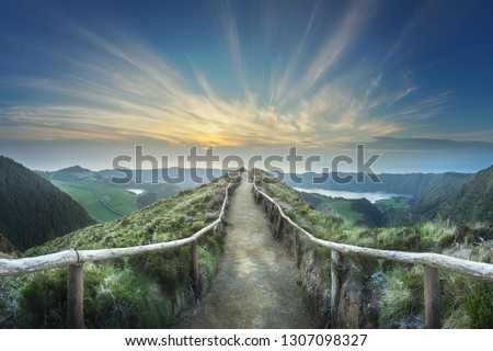 Mountain landscape with hiking trail and view of beautiful lakes Ponta Delgada, Sao Miguel Island, Azores, Portugal. #1307098327