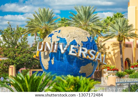 USA. FLORIDA. ORLANDO. FEBRUARY 2019: Universal Globe at Universal Studios Florida theme park. Orlando, Florida, USA. #1307172484