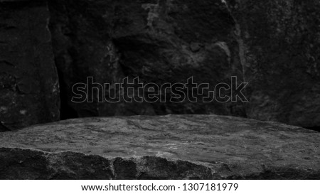A Rock Mineral Product Display Shelf, Showing a Rough Texture to the Platform with a Blurred Ancient Stone Background. #1307181979