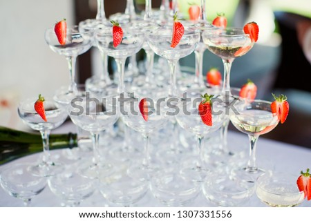 Several glasses of cocktail with strawberry #1307331556