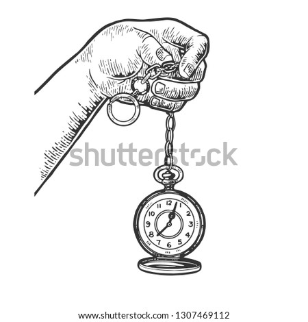 Old fashioned vintage clock watch engraving illustration. Scratch board style imitation. Black and white hand drawn image.