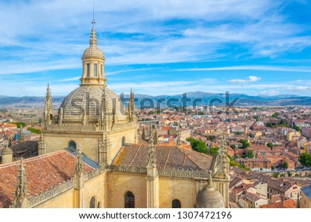 Aerial view of Gothic cathedral at Segovia, Spain