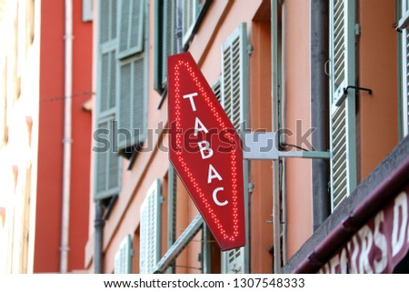 """French Red And White Sign Tabac. In France """"Tabac"""" Means Tobacco Royalty-Free Stock Photo #1307548333"""