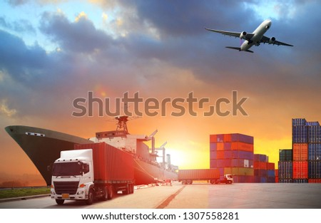 Abstract image of the world logistics, there are container truck, ship in port and airplane #1307558281