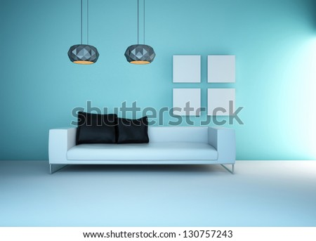 A 3D rendering of light blue living room #130757243
