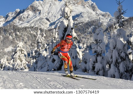 Hochfilzen, Austria - December 13, 2018: Yan Zhang of China competes in the sprint at the BMW IBU World Cup Biathlon 2 #1307576419