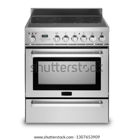 Freestanding Electric Range Isolated on White Background. Front View Steel Fingerprint Resistant Free Standing Kitchen Stove with Convection and Warming Drawer. Range Cooker with 5 Five Burner Cooktop #1307653909