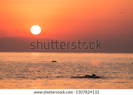 Sunrise at sea. Beautiful view. In the distance and shurokonal angle views, supercolors. Turkey Kemer. #1307824132