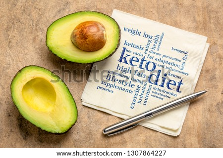 keto diet word cloud  - handwriting on napkin with a cut avocado against bark paper #1307864227