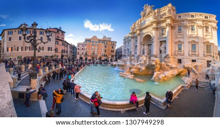 Rome, Italy - January 10, 2019: People at the Trevi Fountain in Rome at sunset, Italy #1307949298