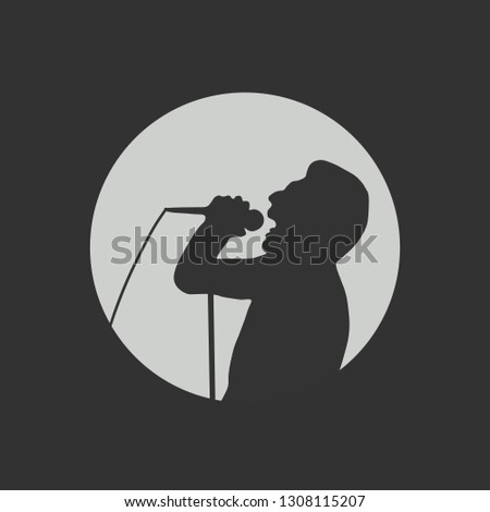 Vector portrait of a singing singer isolated on a dark background. Singer icon. Soloist sings. Vector illustration