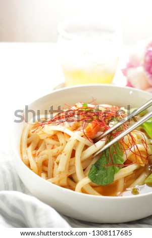 Korean food, kimchi and udon noodles #1308117685