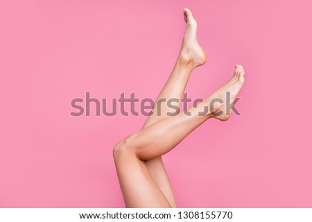 Cropped image view photo of nice long adorable attractive fit thin slim soft smooth shine clear clean shaven legs ad advert active walk life isolated over pink pastel background #1308155770