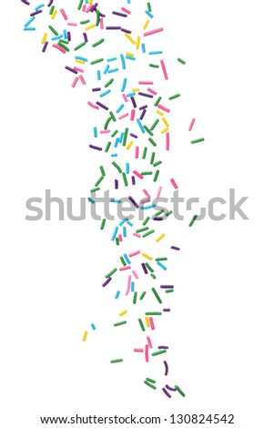 Colorful candy sprinkles isolated on white background Royalty-Free Stock Photo #130824542