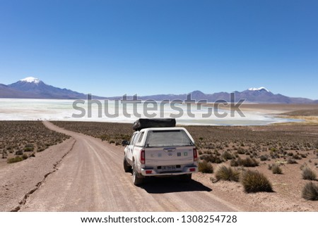 The Atacama Desert, Chile - April 5th 2018: Out in the Wilderness with a Pick-up Truck and roof tent  #1308254728