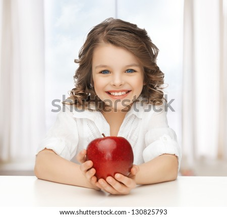 picture of beautiful girl with red apple