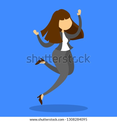 Happy businesswoman jump. Success, achievement and progress. Person in suit with career growth. Excited woman. #1308284095