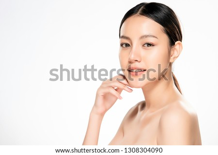 Beautiful Young asian Woman with Clean Fresh Skin look. Girl beauty face care. Facial treatment. Cosmetology, beauty and spa. #1308304090