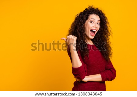 Close up photo cool beautiful nice cheerful amazing her she lady showing way one arm thumb wealth hair shoulders chic wearing red knitted sweater pullover clothes outfit isolated yellow background #1308343045
