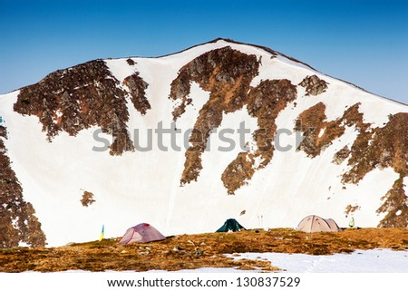 Camping tent in a high mountain environment. Carpathian, Ukraine, Europe. Beauty world. #130837529