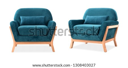 Comfortable chair in the Scandinavian style, on white background #1308403027