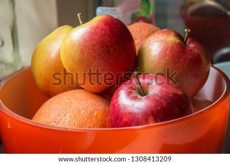 Fresh and large apples in a bowl - closeup #1308413209