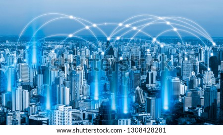 Smart city and network communication. And data transformation on public. #1308428281