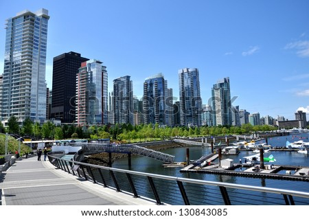 vancouver seawall and skyline near vancouver convention centre