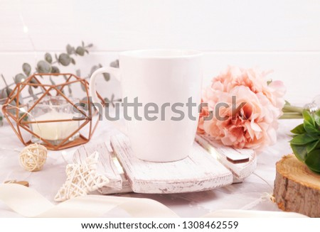 White mug mockup. Styled stock photo for Social Media, Branding and Blog. Flat lay image with white wood and flowers