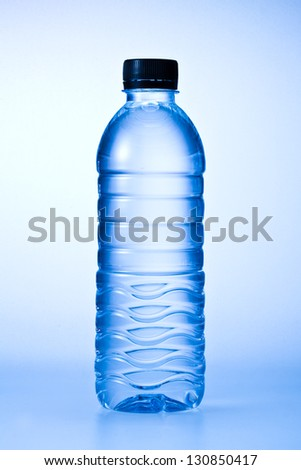 Plastic bottle of water on blue background #130850417