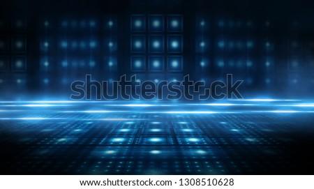 Dark empty scene, blue neon searchlight light, wet asphalt, smoke, night view, rays. #1308510628