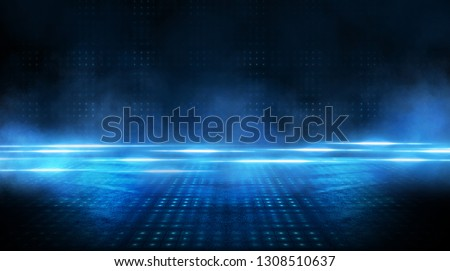 Dark empty scene, blue neon searchlight light, wet asphalt, smoke, night view, rays. Royalty-Free Stock Photo #1308510637