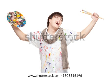 Cheerful painter with brush and palette. Crazy artistic painter with a color palette and brush isolated on a white background. Funny artistic painter greeting with brush. Greeting from the painter. #1308516196
