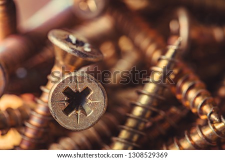 Macro photo of screws. Set of screws. Construction abstraction. Industrial background. Screws macro photo, screw background, steel screw, screw macro. #1308529369