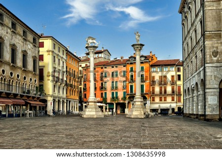 Vicenza, Italy. View of Piazza dei Signori in Vicenza, Italy on September 5, 2016. Vicenza is located at the northeast of Italy, where is also listed as a World Heritage Site. #1308635998