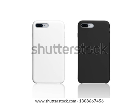 Black and white iphone plus cases mock up, isolated on white background. Two smart phones in black and white plastic covers back view. Horizontal template of phone case #1308667456
