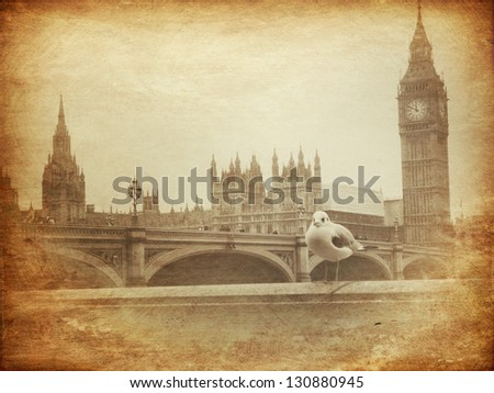 Vintage Retro Picture of Big Ben / Houses of Parliament in London