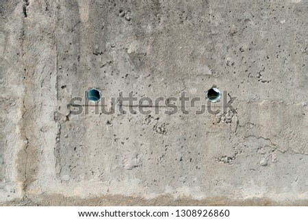 Cement Plaster pattern wall for background and texture. with Drain Pipe. #1308926860