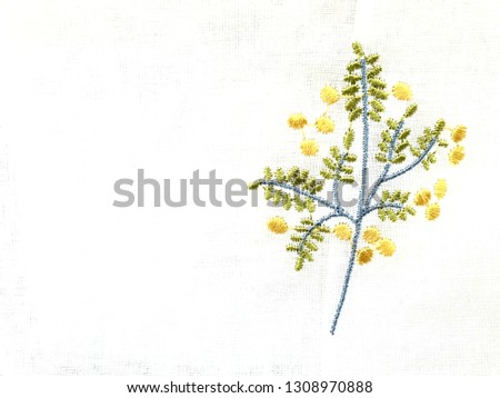White background flower embroidery image #1308970888