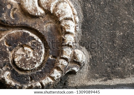 detail of an ancient artistic stone of an Italian medieval city #1309089445