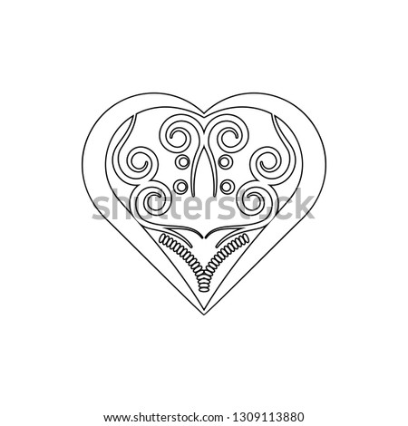 heart ornament icon. Element of ornaments for mobile concept and web apps icon. Thin line icon for website design and development, app development on white background #1309113880