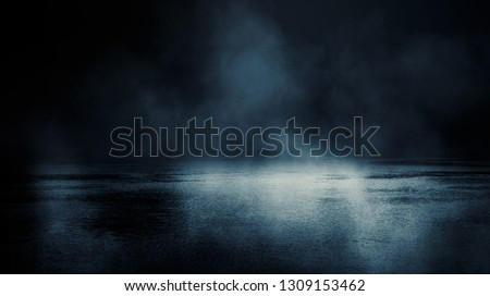 Background scene of empty street. Night view of the river, the night sky with clouds, the reflection of light on the water. Smoke fog #1309153462